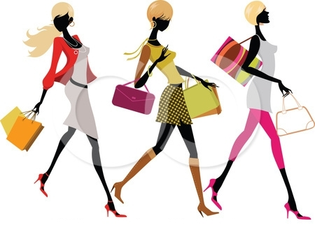 70349-Royalty-Free-RF-Clipart-Illustration-Of-Three-Faceless-Fashionable-Women-Carrying-Shopping-Bags